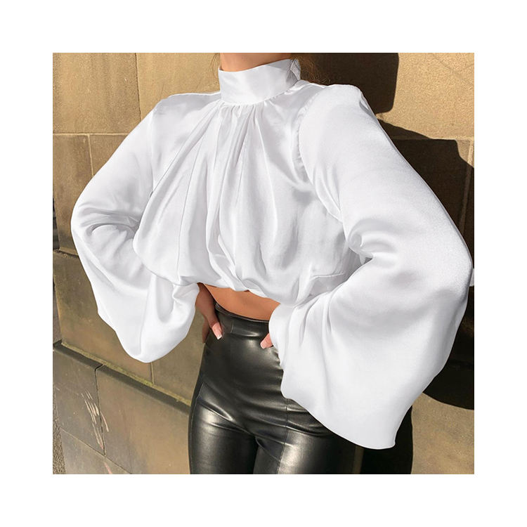 YH1439 2020 Women Casual Simple Loose Blouses Designs High Neck Long Puff Sleeve Crop Tops
