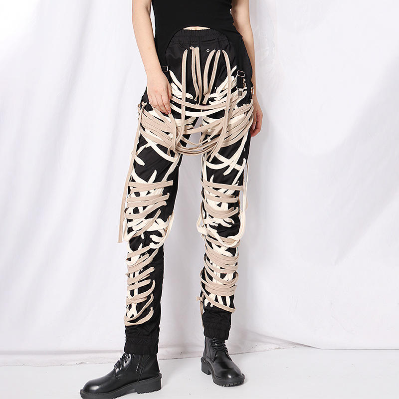 A3992 Tape Fashion Cotton Women Girl Pant Lace Up Pant卸売