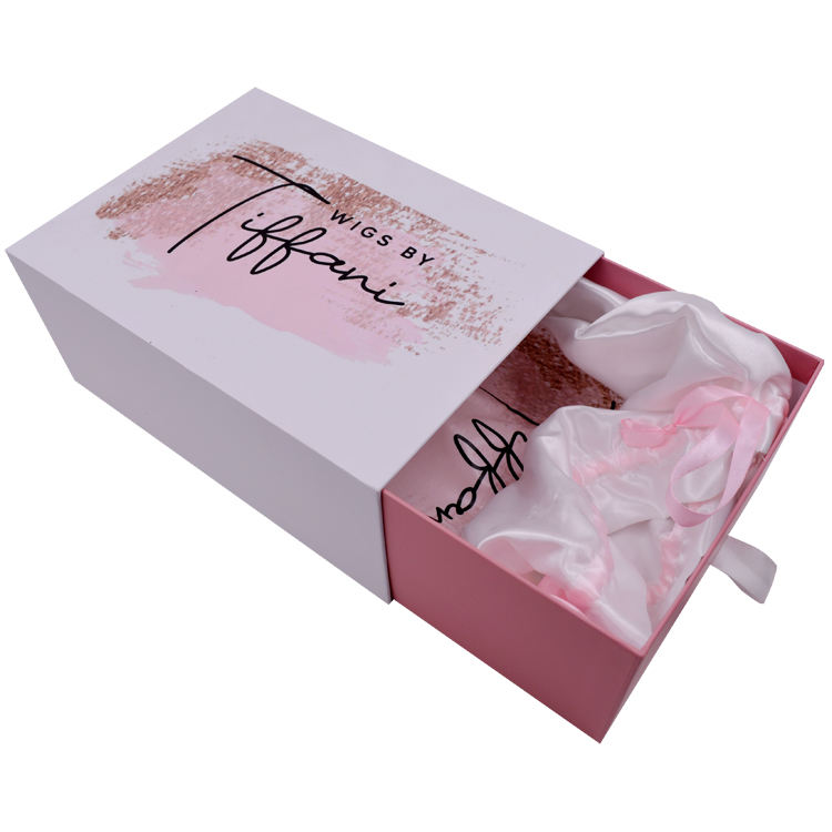 Human Weave Hair Gift Storage Box with Ribbon Closure Hair Bundles Packaging Box Extension Bags with Satin for Wig Accessories