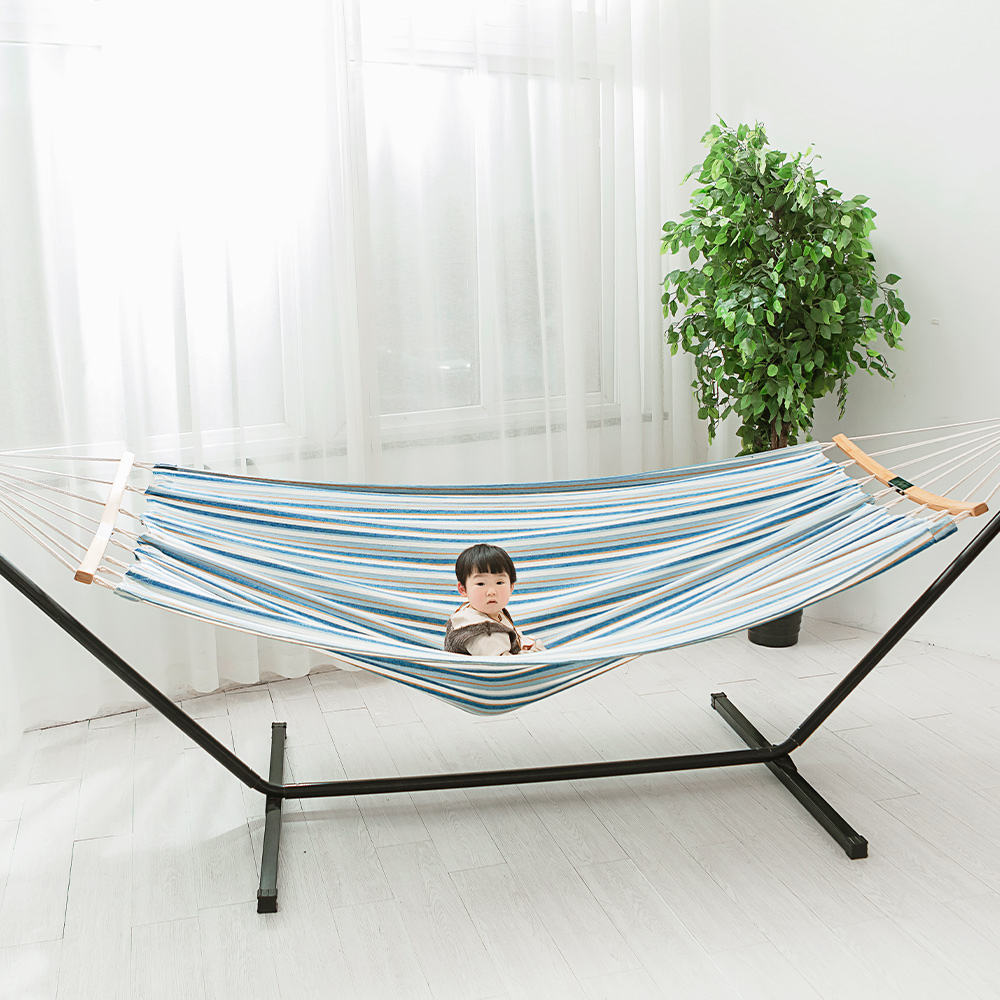 Portable Outdoor Double Polyester Camping Quilted Hammock With Folding Stand Baby Swing hammock