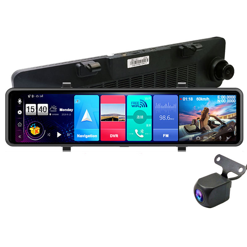 "2020 New Android 8.1 ADAS Dual Lens Car Video Recorder DVR 12"" IPS 4G Full HD 1080P Car Dashboard Camera GPS Navigation"