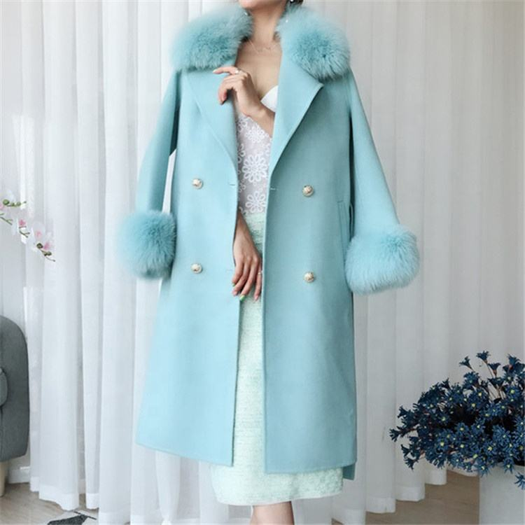 Womens Fur Pocket Design Coat Wholesale Double Face Cashmere Winter Wool Trench Coat