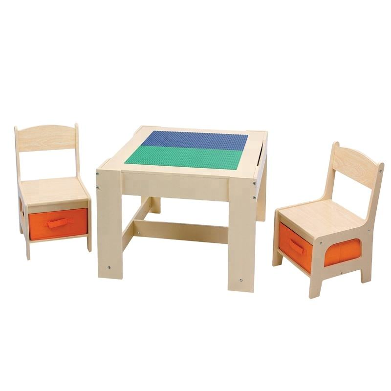 Toffy & FriendsWater paint natural color kids wooden lego play table chairs set