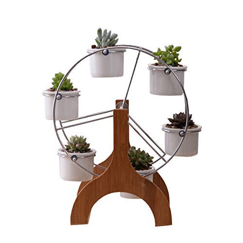 Cute Ferris Wheel Shaped Bamboo Flower Pot Stands Holder plant rack for Home Garden Office