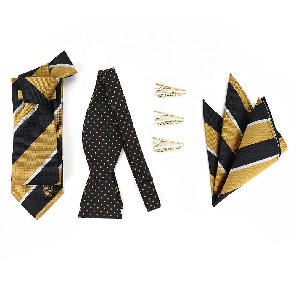 Mens Custom Logo Woven Striped Necktie Polka Dot Jacquard Silk Bow Tie Handkerchief Sets