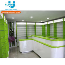 Natural Health Store Cashier Table Medical Reception Desk Modern Medical Store Counter Interior Design