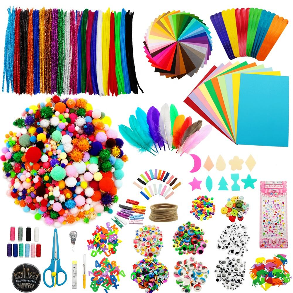 4197pcs/set Craft Pipe Cleaner Pom Poms Googly Eyes Bundle Diy Arts and Crafts Supplies for Kids 1111229