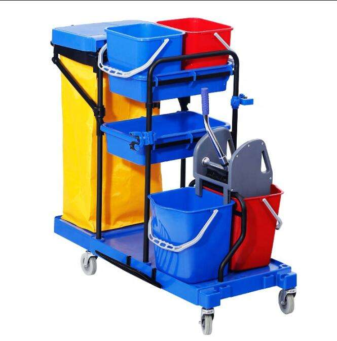Manufacturer Cart Cleaning Mop Trolley Janitor Double Bucket Cleaning Trolley Janitorial Cleaning Trolley