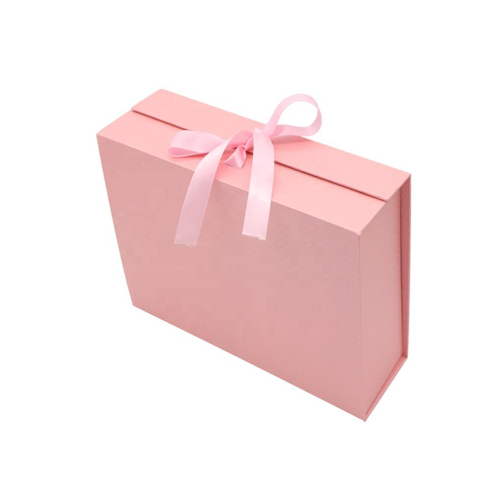 In Stock Cardboard Magnetic Foldable Gift Packaging Folding Box With Bowknot for Gift