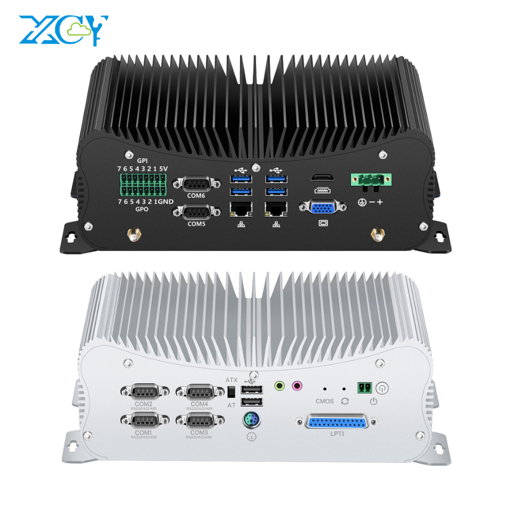 Fanless Computer Industrial PC Mini Project Desktop Intel Core i3 i5 i7 2*RJ45 6*RS232 RS485 2* DDR4 M.2 mSATA GPIO LPT PS2