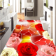 3D house decoration romantic rose living room bedroom 3D floor tile and 3D plant flower floor