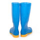 Popular Oem Factory Safety Gumboots Waterproof for Men Pvc Yellow Sole Blue Rain Boots