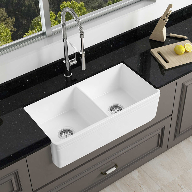 Double Bowl Two Sided Undermount Farm House Deep Ceramic Kitchen Sink