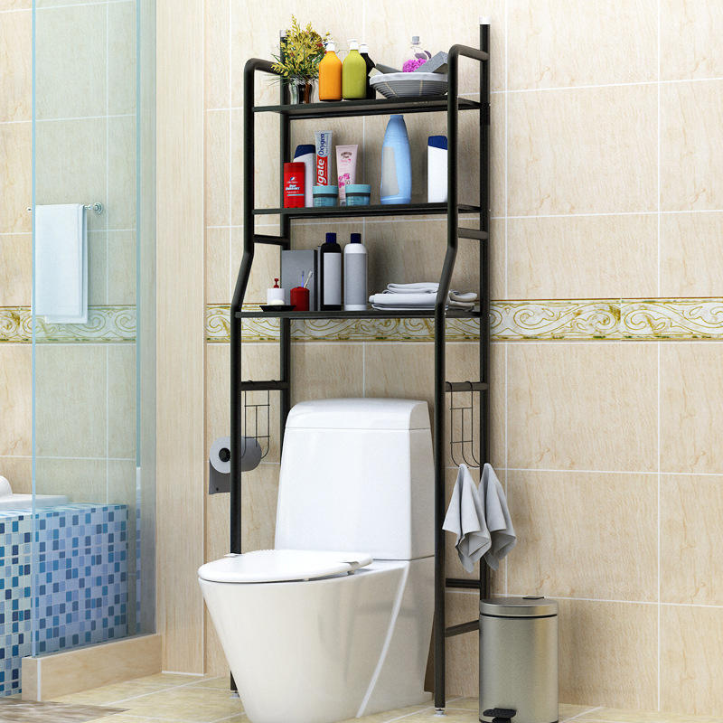 ToiletスタンドCorner Shelf Bath Rack 304 Stainless Steel Glass Silver Caddy Wall Style Surface Bathroom Color