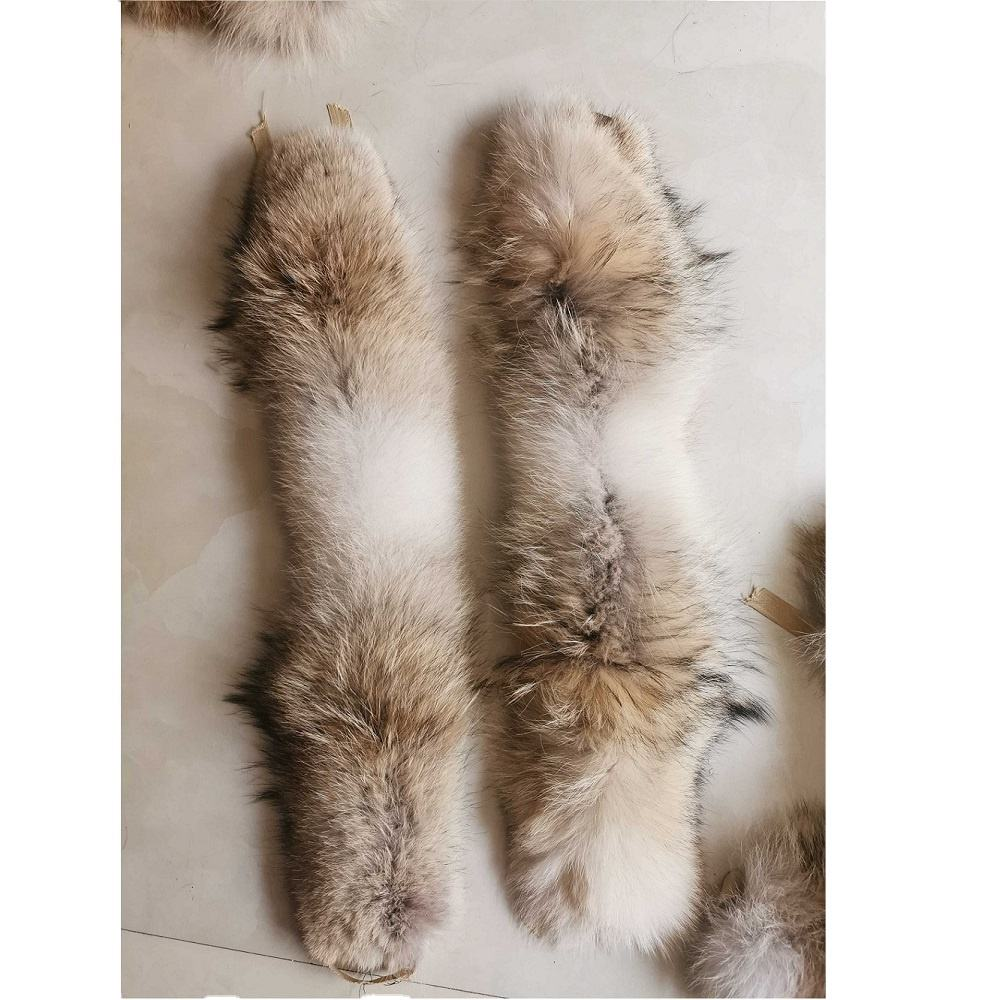 Wholesale Customized Real Coyote Fur Trim Strips For Collar Parka Hood Trimming