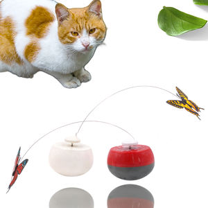 2020 Amazon Butterfly Scratch Shake Rotate Catch Training Plastic Electronic Interactive Pet Cat Toys