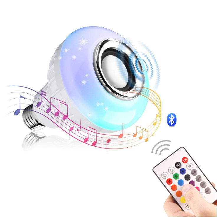 2020 Amazon vendita calda senza fili Wifi 12W E27 di Colore Variabile <span class=keywords><strong>LED</strong></span> altoparlante di musica di Controllo a distanza intelligente Rgb Luce di <span class=keywords><strong>Lampadina</strong></span>