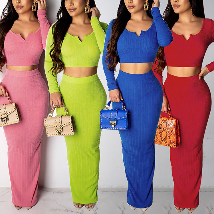 Autumn New Style Solid Color Knit Bodycon Long Sleeve Maxi Dress Two Piece Set Women Clothing