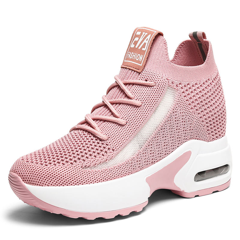 Latest new model knitting mesh high heel sports boots women shoes 8cm height increasing fashion sneakers wholesale brand