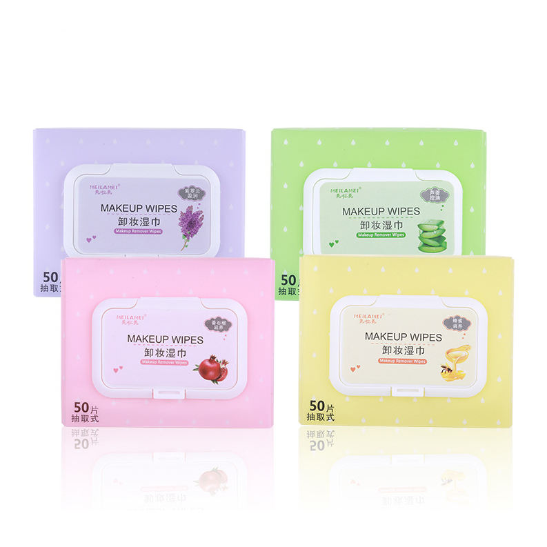 50 counts Manufacturer face cleansing wipes female feminine care cleaning makeup remover wet wipes with fragance