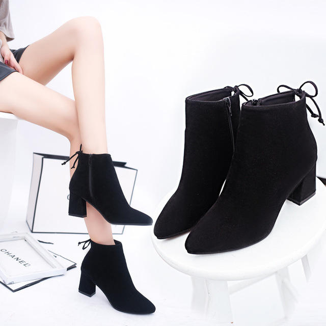 Lady casual Zipper Chunky Black Women Ankle Winter Suede Boots