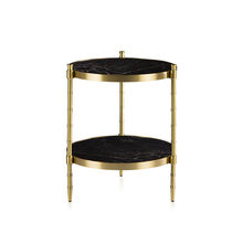 LC-077 2 shelf  double layer italian luxury marble round gold solid bronze base frame end bed side corner coffee table