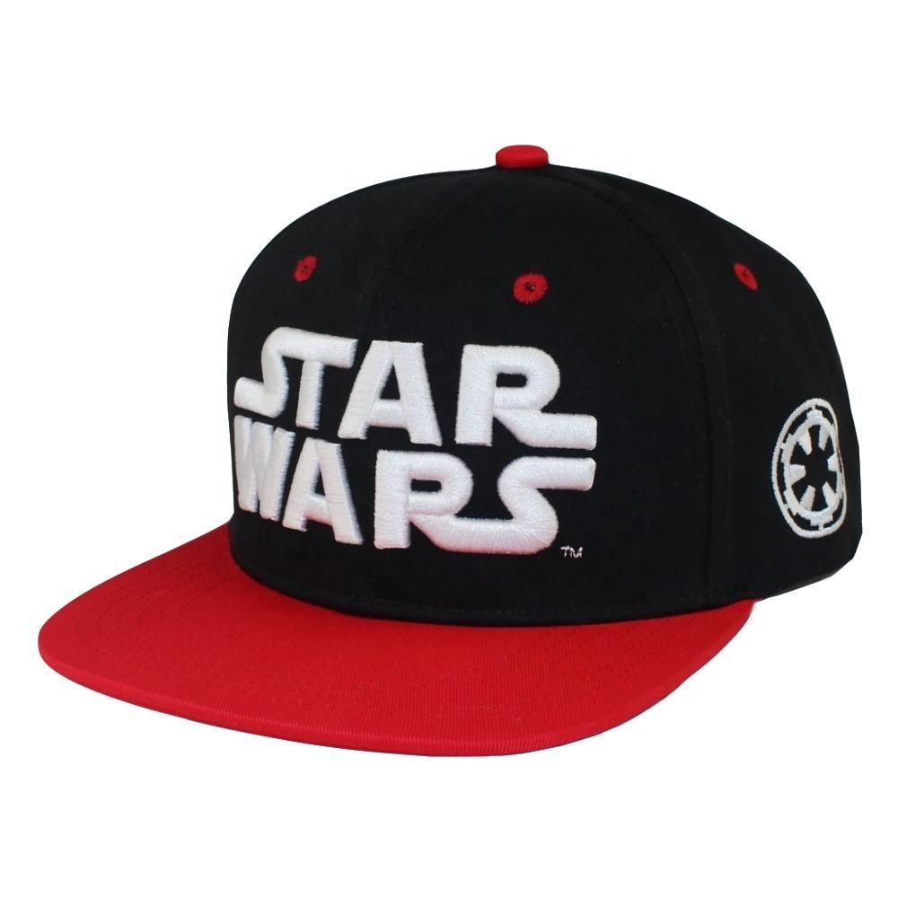 High Quality Customize Star Woven Patch Snapback 3D Embroidery Black Baseball Cap