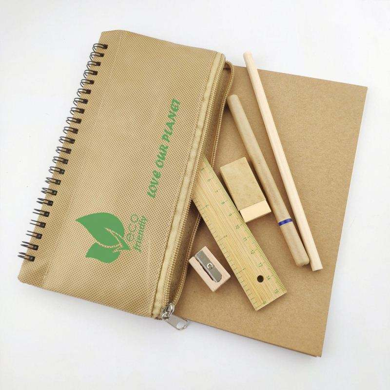 creative eco friendly stationery set and pencil pouch