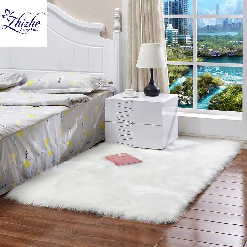 Nordic style faux fur rectangle square fleece rug carpet for home hotel