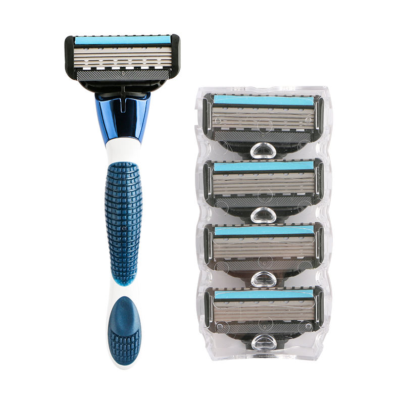 Men's shaving razor metal handle system razor five blade with extra trimming blade system changeable razor