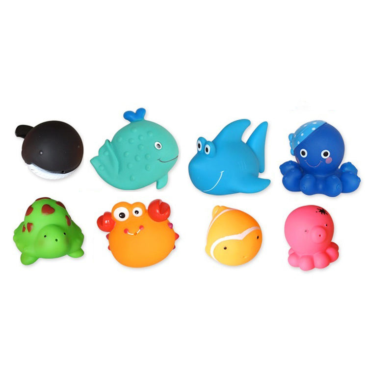 Eco-friendly Custom Vinyl Bathtub Toy Rubber Bath Toys For Kids Baby Swimming Floating Duck Bath Toy Play Set