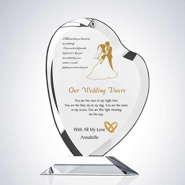 heart shape crystal glass shield awards for Wedding Decoration & Gift