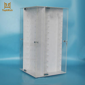 Custom Design Counter Top Rotating Acrylic Knife Display Stand Case With Locks