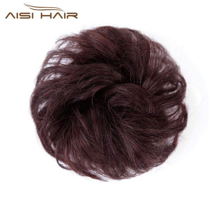 Aisi Hair Brazilian Human Hair Curly Brown Chignon Bun Elastic Rope Rubber Band Hairpiece Clip In Extension For Black Women