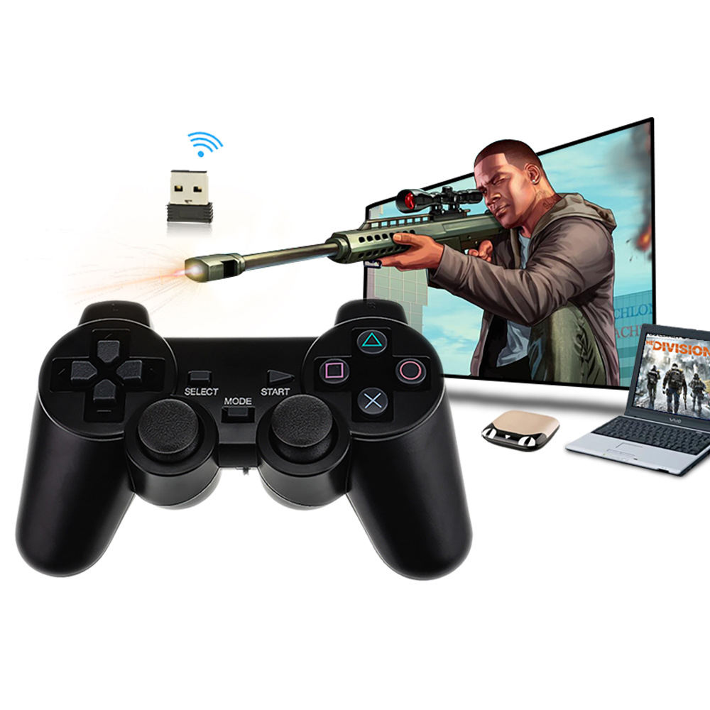 Double vibrating motor pc 2.4g wireless usb gamepad video game controller for android box and smart TV