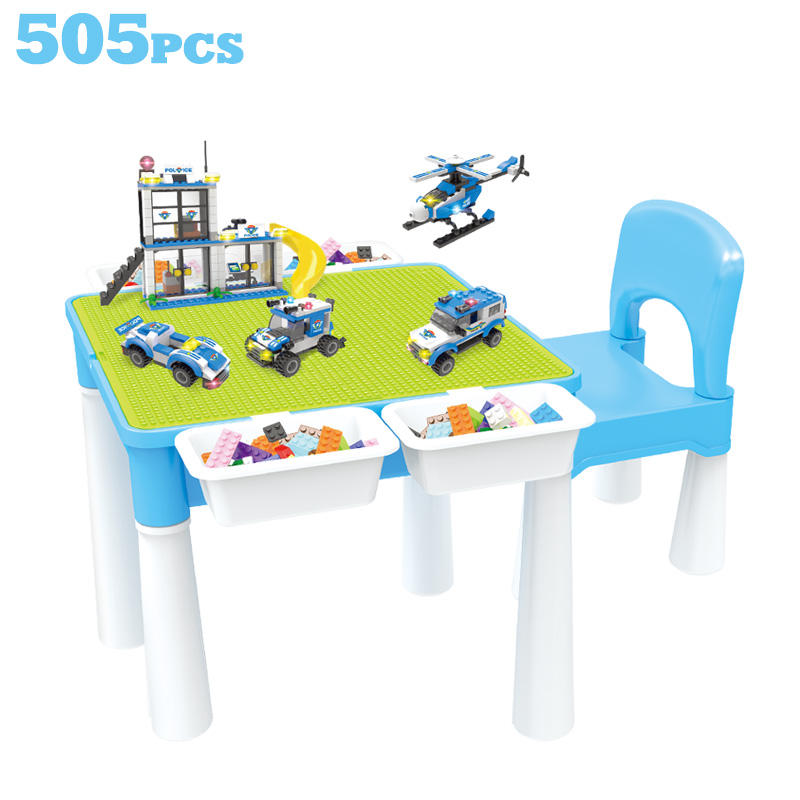 Multifunction Kids Plastic Block Toy Activity Play Table with Storage Box & 407PCS Building Block Compatible Legoinglys City Toy