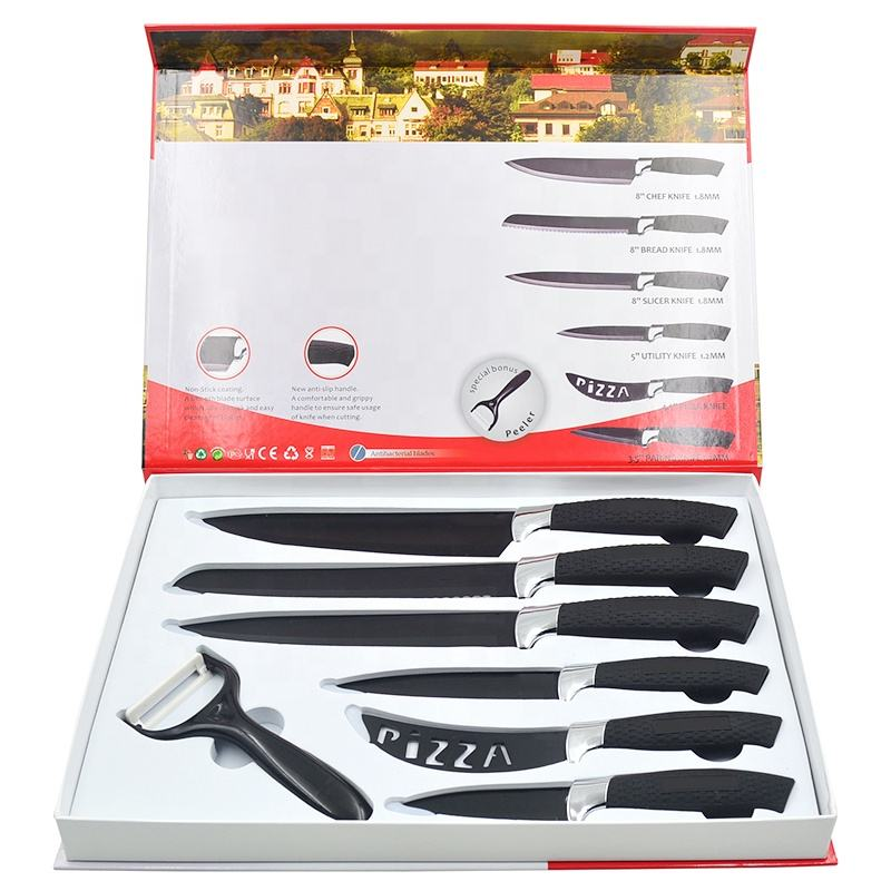 2020 New design Eco-friendly high quality pp with SS 7pcs non-stick coating promotion kitchen knife set