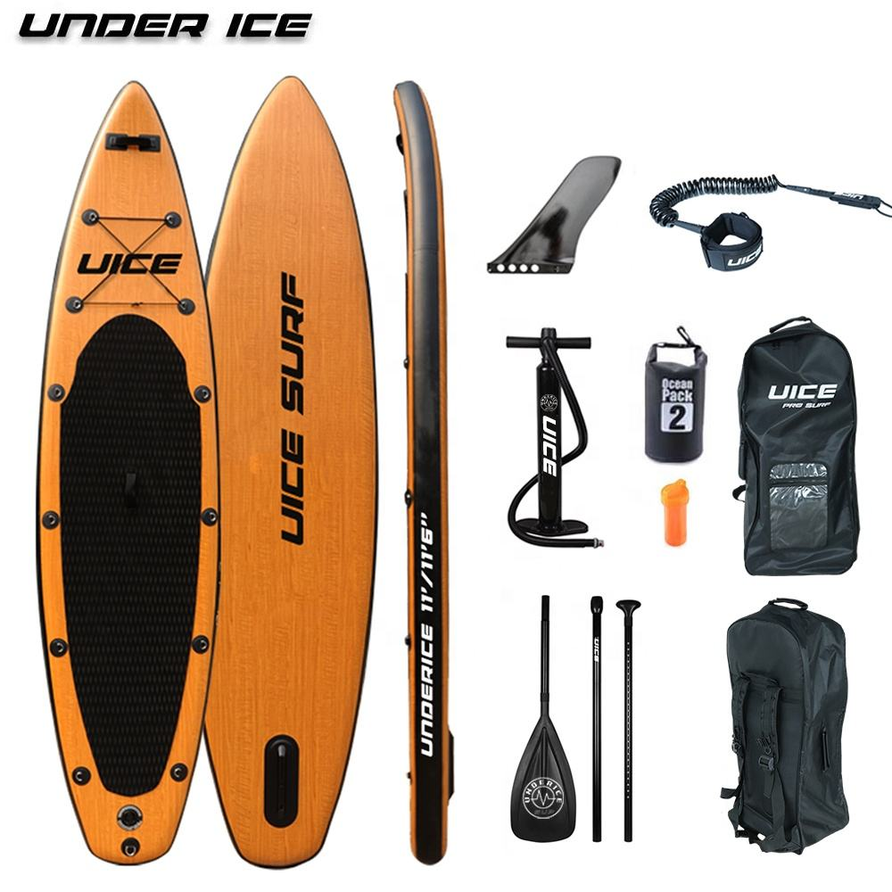11'/11'6'' Wood Inflatable Sup Stand Up Paddle Board ISUP air paddle board for Kayaking Fishing Yoga Surf