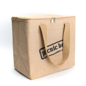 Customized size logo for promotional Large organic jute Insulated Cooler Bag for eco friendly