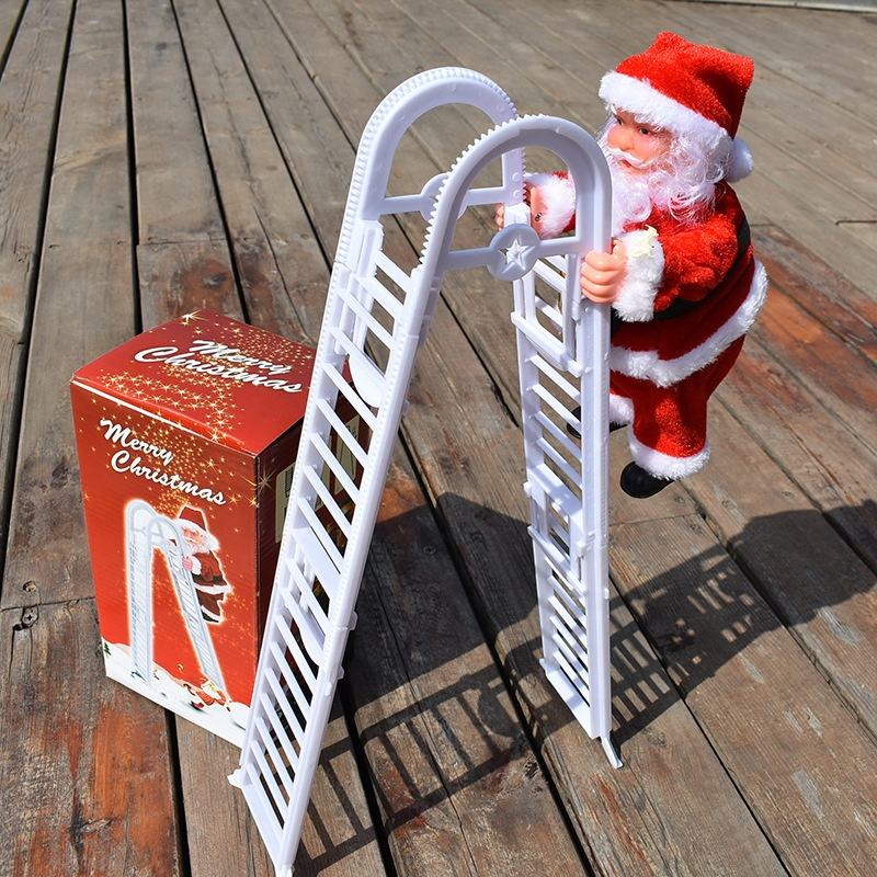 Electric Climbing Ladder Claus, Christmas Santa Plush Doll Toy for Hanging Ornament Tree Decoration