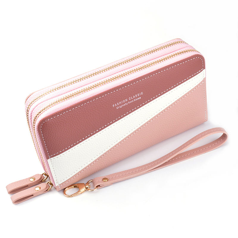 New double zipper wallet women's beautiful wallet long stitching contrast color large capacity wallet
