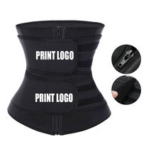 NEW Custom Logo Private Label Double Compression Belt And Zipper Women Workout Slimming Tummy Latex Waist Trainer