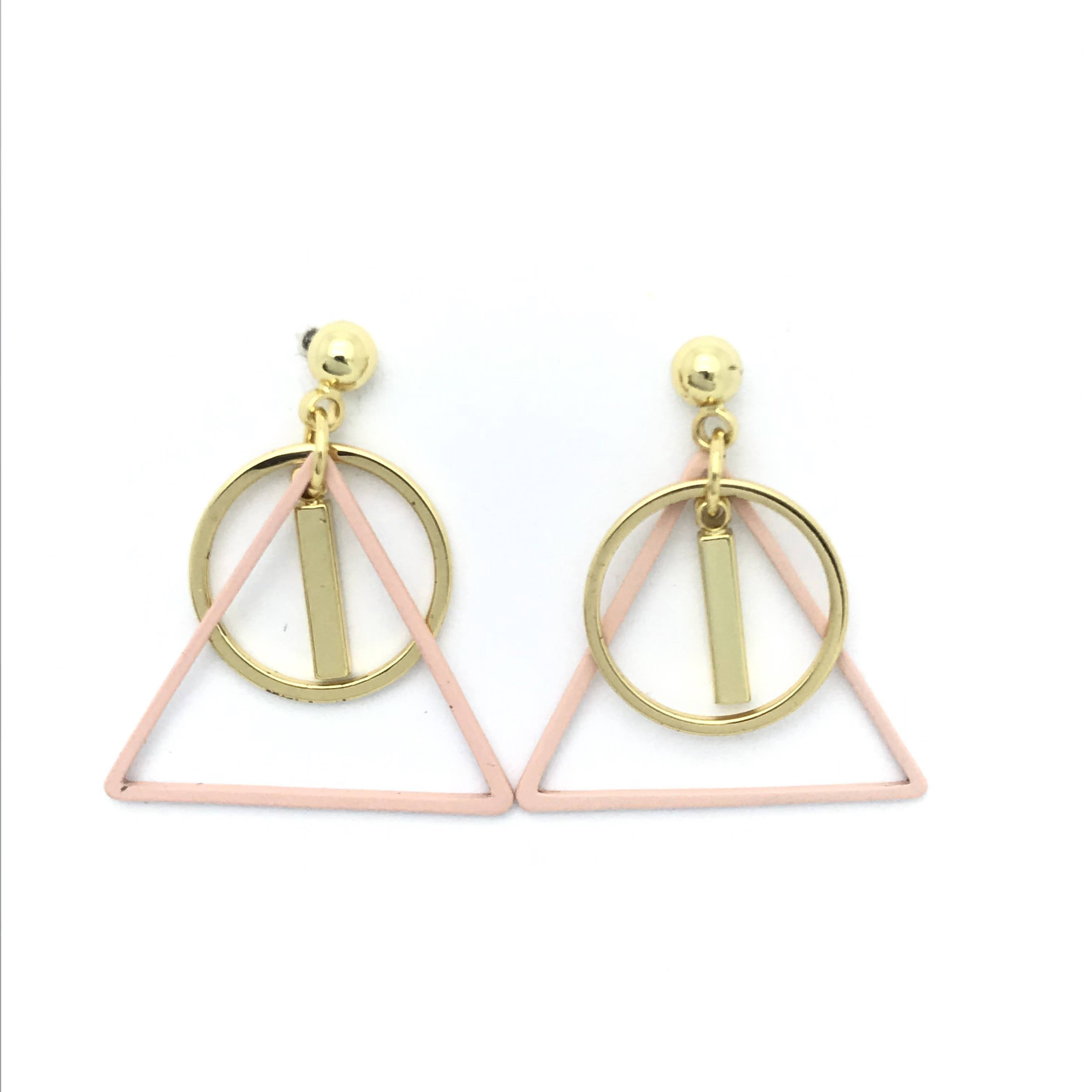 Eico Popular Geometric Drop Earrings Triangle Round Double Earrings 2019