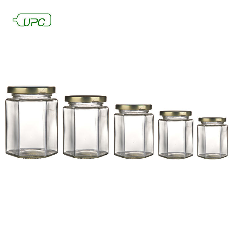 Wholesale clear hexagon jam glass jar with metal lid