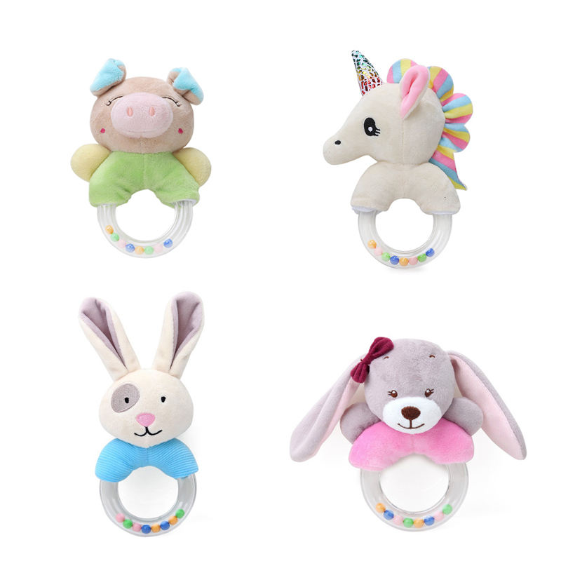 Cute Cartoon Plastic Ring Rattle Animal Pig Unicorn Transparent Hand Ring Baby Toy