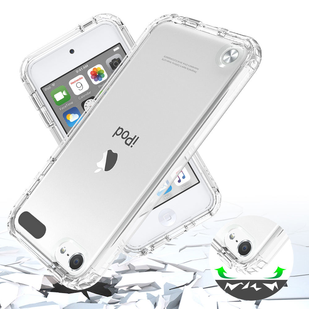 For iPod Touch 5 6 7 Case, 2FT Drop Test Shockproof Transparent TPU Mobile Back Case For iPhone 5 5S 6S 7 8 Plus