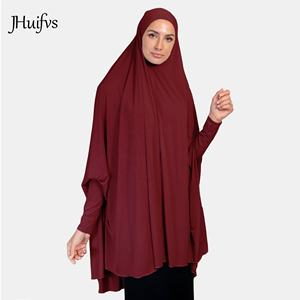 2019 High Quality Stretchy Womens Sleeved Jelbab Solid Color Khimar One Piece Jilbab