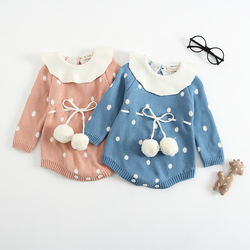Newborn ruffled collar baby rompers clothes knitted infant