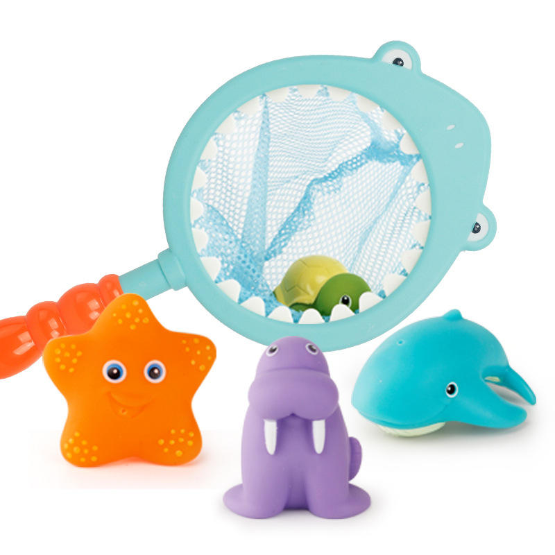 Fish Net Game in Bathtub Bathroom Pool Bath Time Fishing Floating Squirts Toy and Water Scoop With Organizer Bag Funcorn Toys