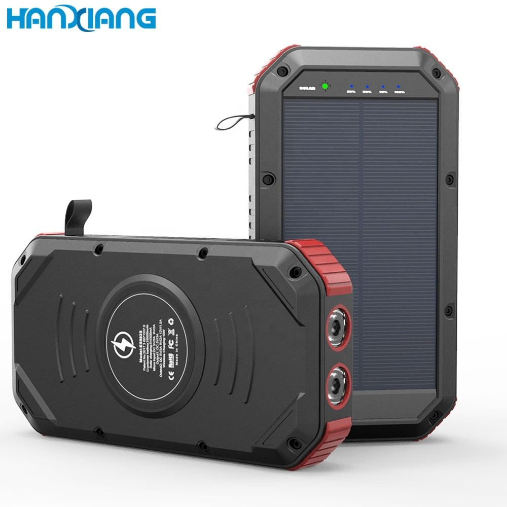 Unique Products To Sell Portable QC3.0 PD Type C Fast 4 USB Flashlight Solar Charger 30000mAh Power Bank for Outdoors Camping